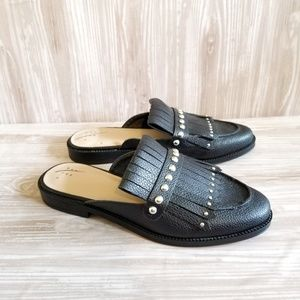 A New Day Karoline Black Leather Fringe Stud Mules